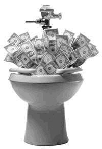 Dinheiro jogado na privada